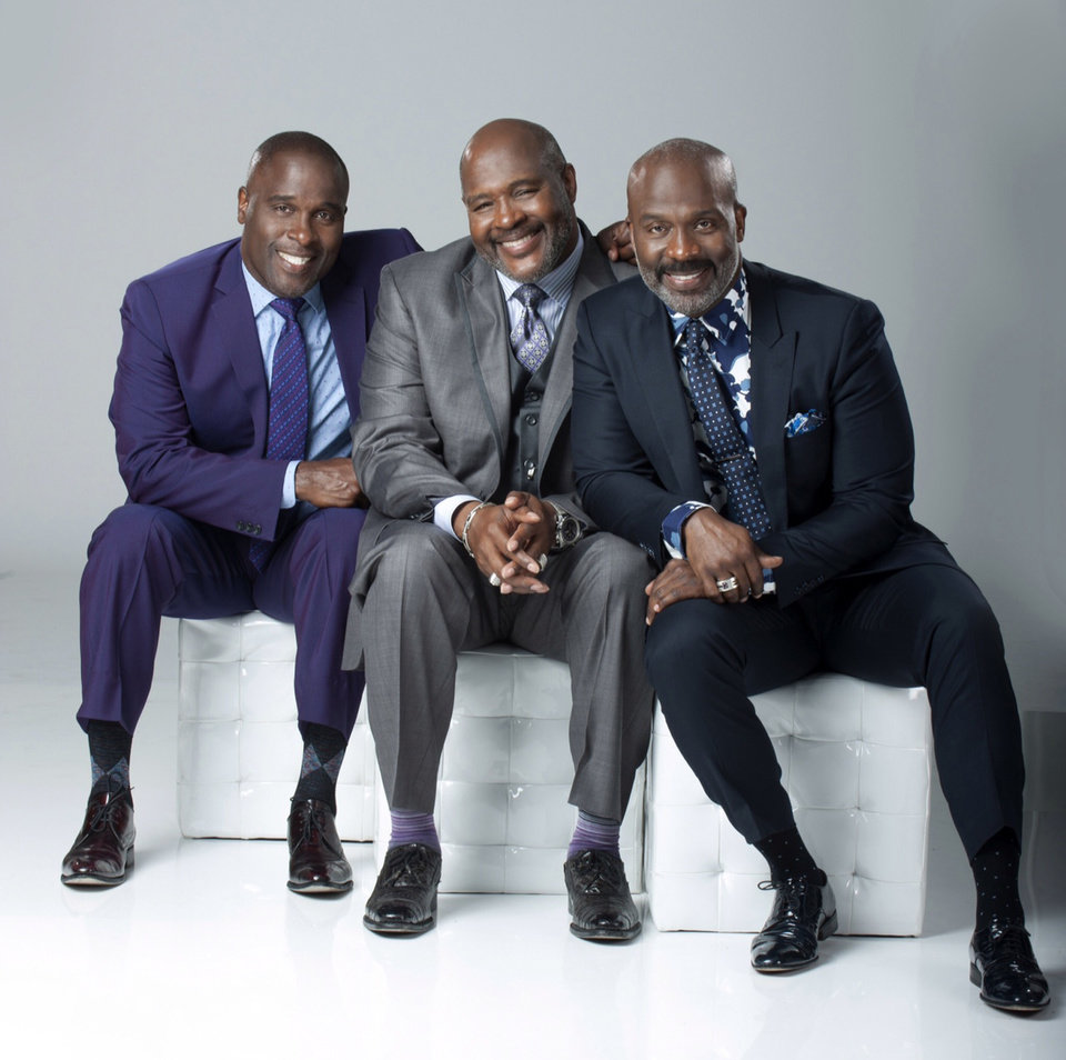 Photo - This handout provided by the United States Tennis Association shows, from left, Carvin, Marvin and Bebe Winans.  Fitz and The Tantrums and 3 Winans Brothers will be the headlining acts for the opening ceremony at the U.S. Open tennis tournament, scheduled for Aug. 25, 2014.(AP Photo/USTA)