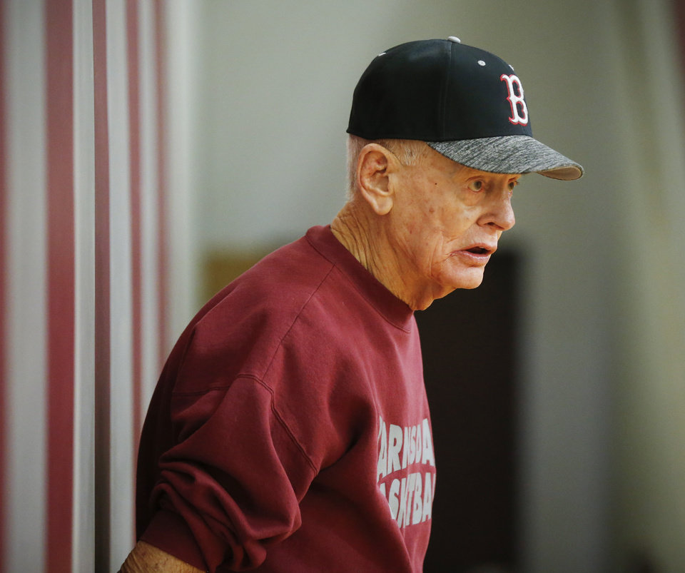 Photo - Coach Joe Gilbert during girls basketball practice in the gym inside Barnsdall High School in Barnsdall, Okla., Tuesday, Feb. 18, 2020. Gilbert has coached at Barnsdall since 1954. [Nate Billings/The Oklahoman]