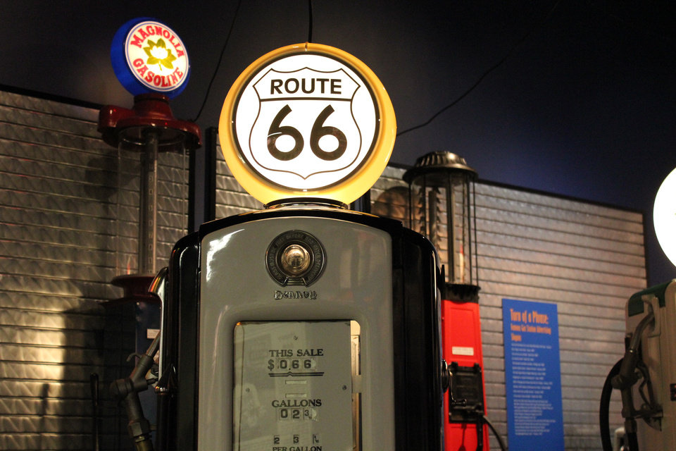 Photo -  Route 66 gas pump at the Oklahoma Route 66 Museum in Clinton. Photo provided
