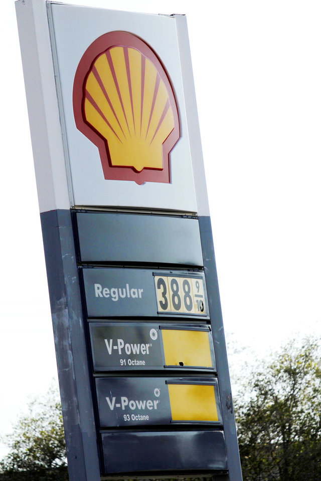 Gasoline priced at $3.88 is shown Tuesday at Shell at N Western and Avondale in Oklahoma City.