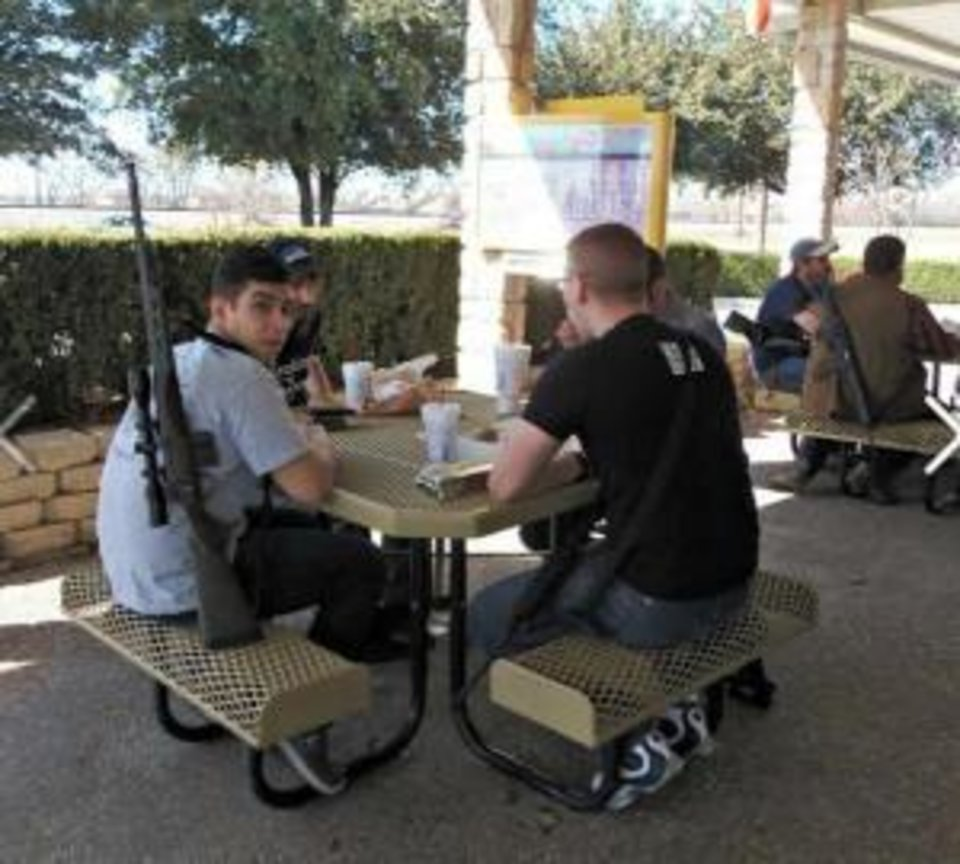 Photo -  Gun rights advocates were asked to leave a Sonic patio dining area in Texas during a recent demonstration that was filmed and posted on YouTube. Photo provided by Moms Demand Action for Gun Sense in America     -  Moms Demand Action for Gun Sense in America