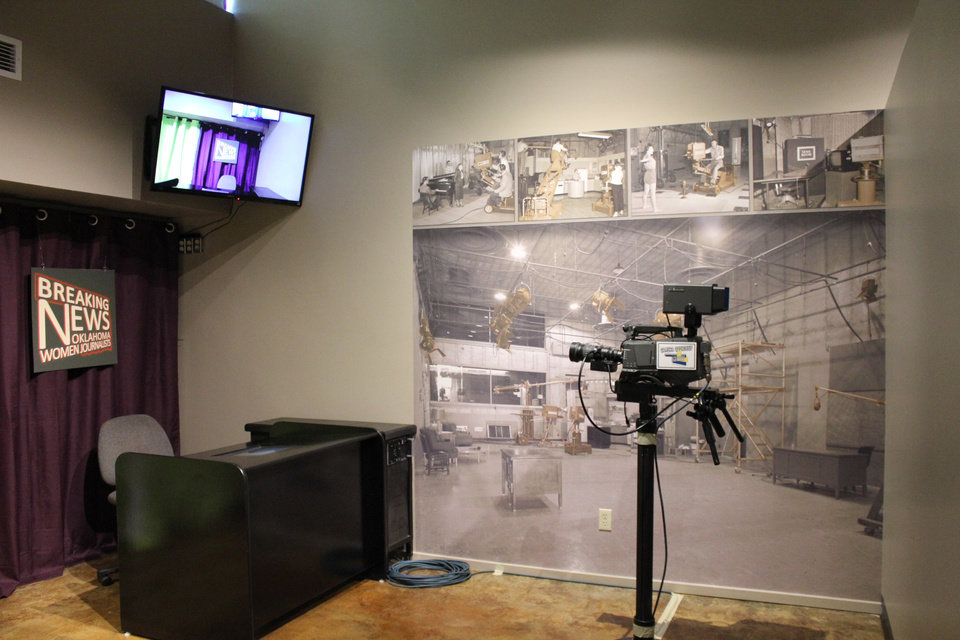 """Photo -  The Pioneer Woman Museum in Ponca City has an exhibit honoring women in journalism called """"Breaking News: Oklahoma Women Journalists."""" At the museum is a place where visitors can sit behind a news desk and get the anchorwoman experience. Photo provided"""