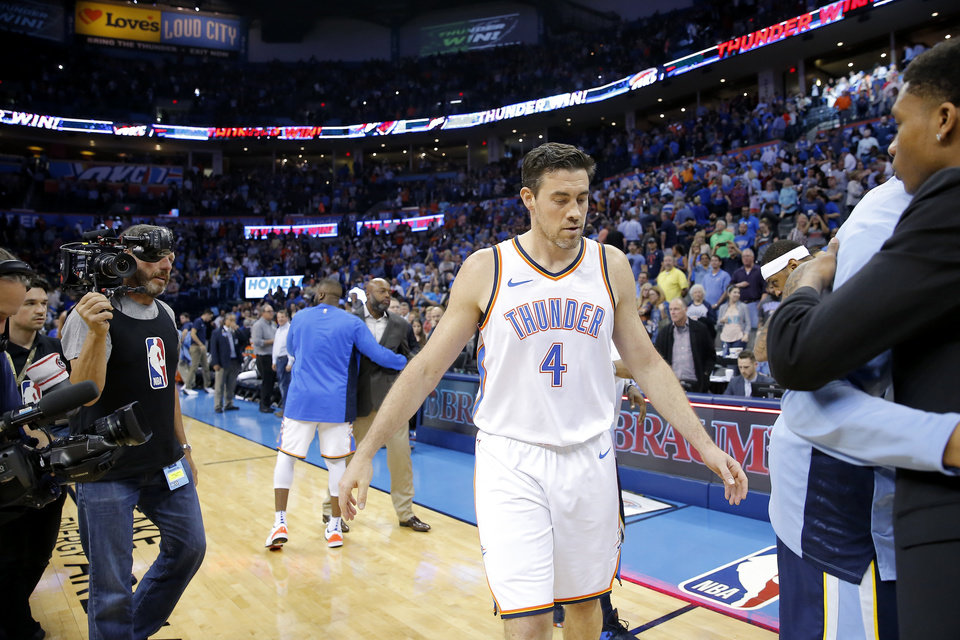 Photo - Oklahoma City's Nick Collison (4) walks off the court after an NBA basketball game between the Oklahoma City Thunder and the Memphis Grizzlies at Chesapeake Energy Arena in Oklahoma City, Wednesday, April 11, 2018. Photo by Bryan Terry, The Oklahoman