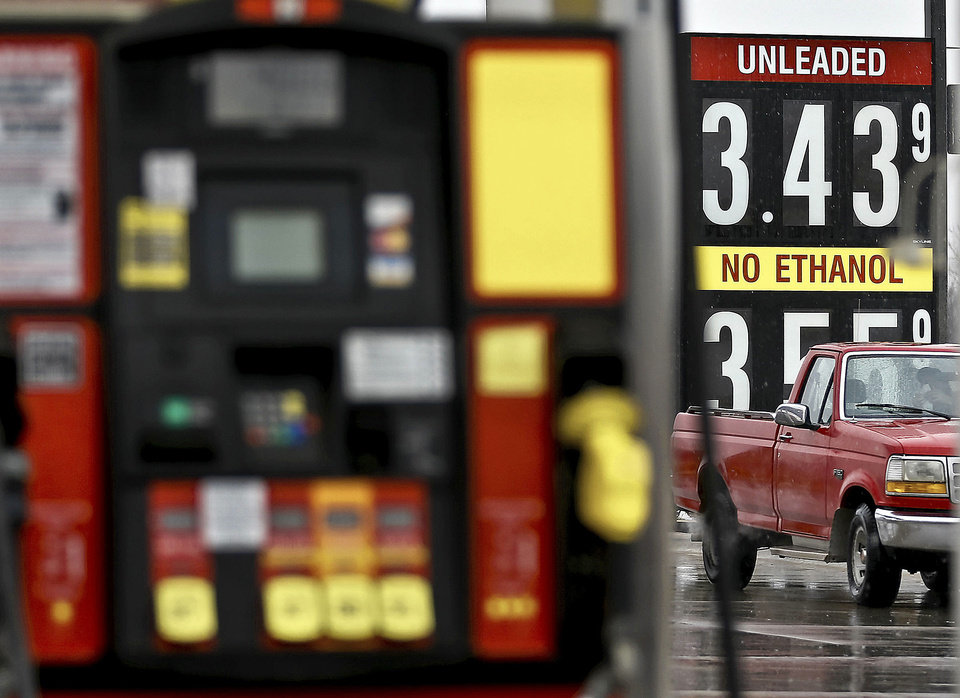 Gas prices are shown Monday at a station in Oklahoma City.  Photo by Chris Landsberger, The Oklahoman