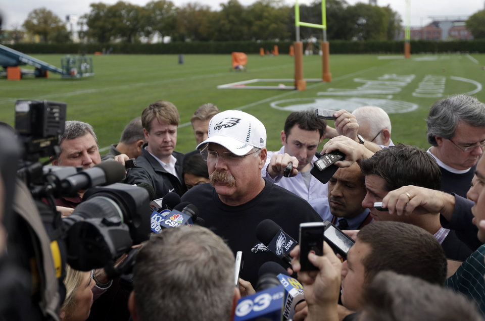 Philadelphia Eagles coach Andy Reid speaks with reporters at the team's NFL football training facility, Wednesday, Oct. 10, 2012, in Philadelphia. (AP Photo/Matt Rourke)