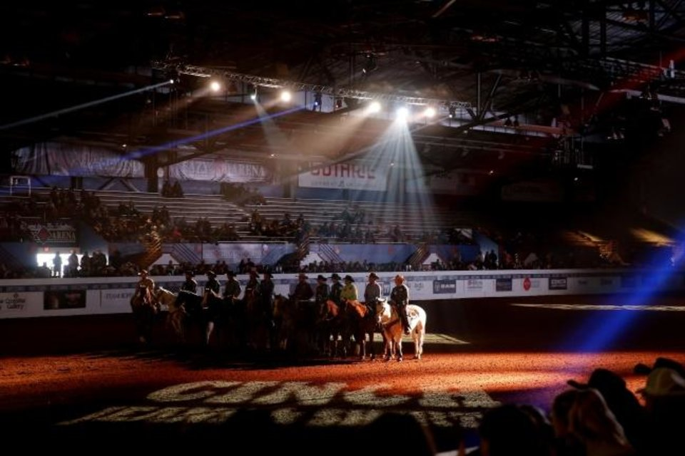 Photo -  Contestants line up before the Timed Event Championship inside the Lazy E Arena in Guthrie on Friday, one of the few events not canceled due to the coronavirus outbreak. [Bryan Terry/The Oklahoman]