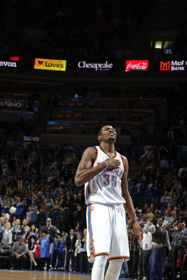 Oklahoma City\'s Kevin Durant (35) celebrates his career high during the NBA basketball game between the Oklahoma City Thunder and the Denver Nuggets at the Chesapeake Energy Arena, Sunday, Feb. 19, 2012. Photo by Sarah Phipps, The Oklahoman