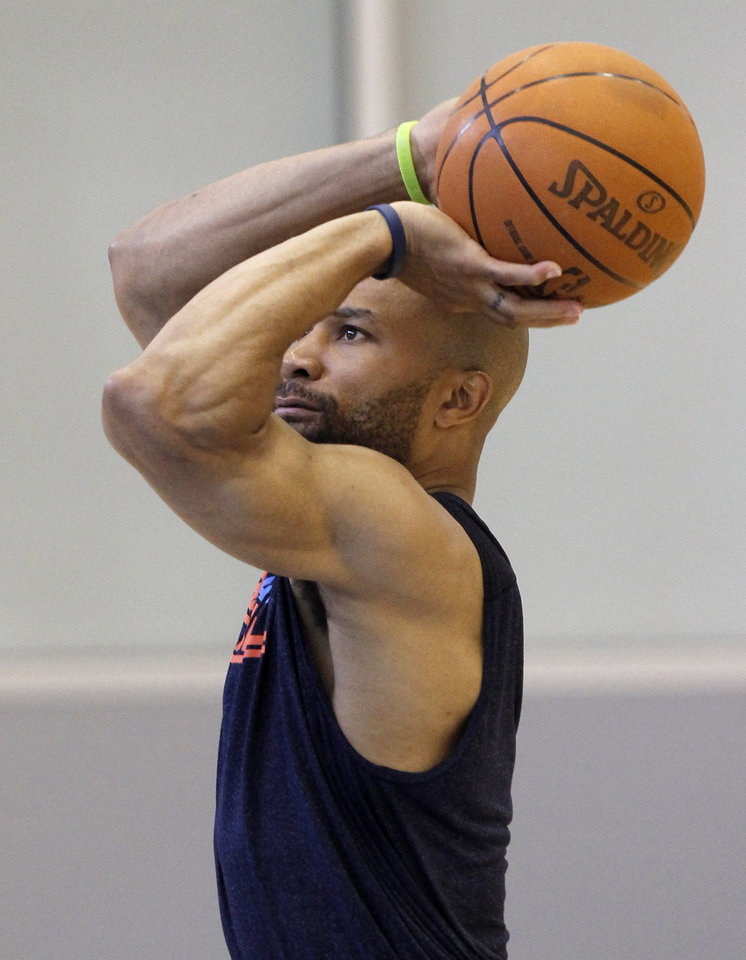 Derek Fisher gets some extra jump shots in after the Thunder practice Sunday, June 10, 2012. Photo by Doug Hoke, The Oklahoman