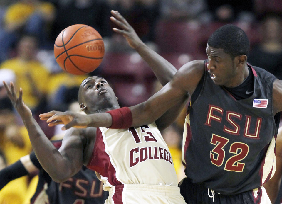 Former Florida State center Solomon Alabi (right) has good size, a long wingspan and reach, and has a good basketball IQ. He's projected near where the Thunder has its first pick (No. 21). AP PHOTO