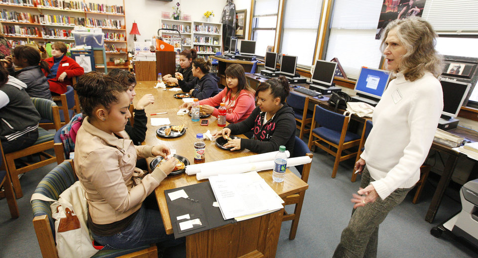 Facilitator Stephanie Brill, with Family Builders, talks to students during a Family Builders parenting class Wednesday at Emerson High School in Oklahoma City. Photo by Paul B. Southerland, The Oklahoman