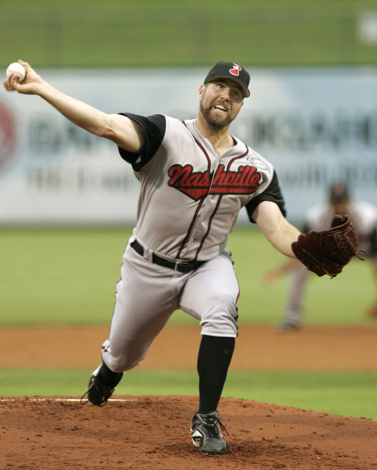 Photo - MINOR LEAGUE BASEBALL, OKLAHOMA REDHAWKS: Nashville Sounds' R.A. Dickey delivers a pitch at the AT&T Bricktown Ballpark in Oklahoma City, July 5, 2007.   Photo By  Steve Gooch  ORG XMIT: KOD