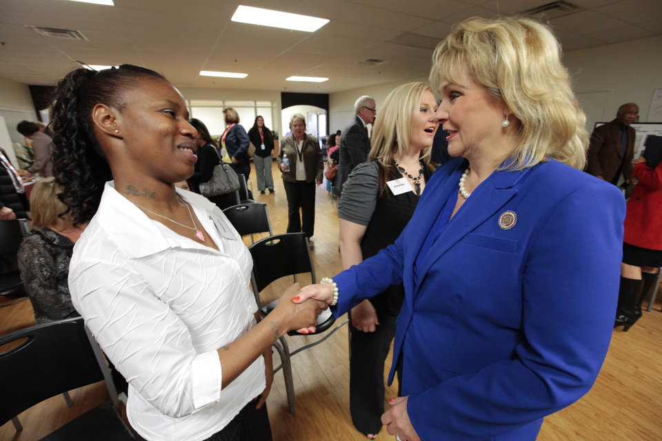Jordan�s Crossing resident Tiquana speaks with Gov. Mary Fallin Friday at the facility.  Photo by David McDaniel, The Oklahoman