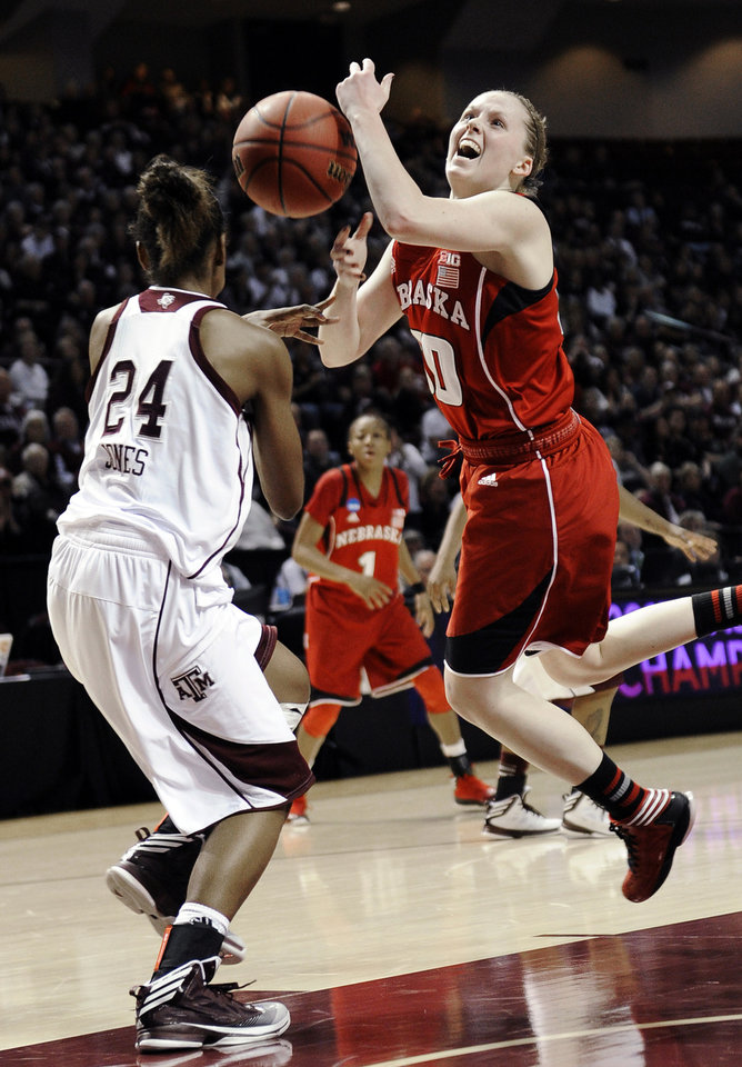 Photo - Nebraska's Lindsey Moore (00) loses the ball on her way to the basket while guarded by Texas A&M's Jordan Jones (24) during a second-round game in the NCAA women's college basketball tournament in College Station, Texas, Monday, March 25, 2013. Nebraska won 74-63. (AP Photo/Pat Sullivan)