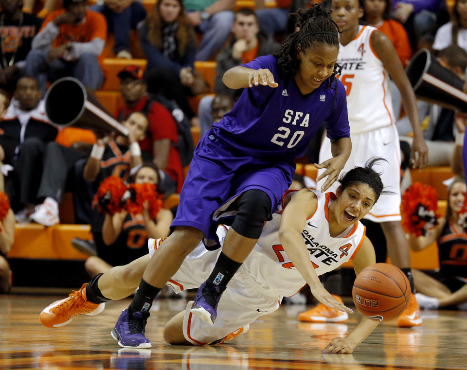 Stephen F. Austin\'s Antionette Carter (20) and Oklahoma State\'s Brittney Martin (22) go for the ball during a women\'s college basketball game between Oklahoma State University and Stephen F. Austin at Gallagher-Iba Arena in Stillwater, Okla., Thursday, Dec. 6, 2012. Photo by Bryan Terry, The Oklahoman