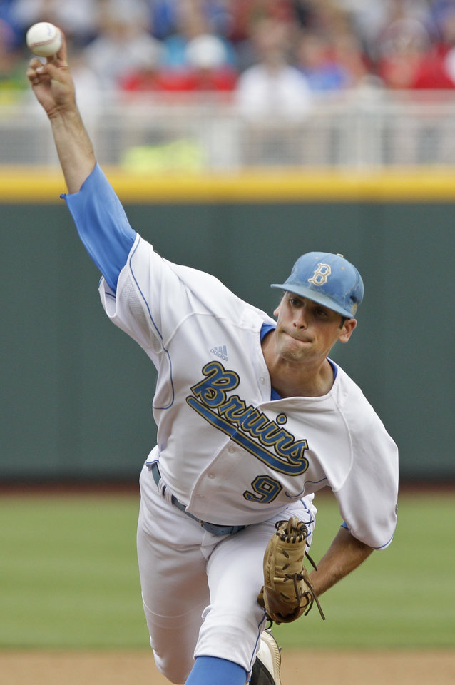 Photo -   UCLA's starting pitcher Adam Plutko works against Stony Brook in the first inning of an NCAA College World Series baseball game in Omaha, Neb., Friday, June 15, 2012. (AP Photo/Nati Harnik)