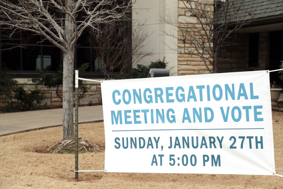 Photo - A sign is shown Tuesday outside First Presbyterian Church of Edmond. Photo by Sarah Phipps, The Oklahoman