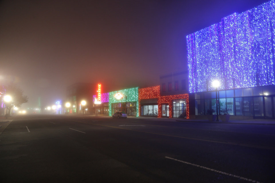 Automobile Alley is covered in dense fog in Oklahoma City, Sunday, Dec. 1, 2013. Photo by Sarah Phipps, The Oklahoman