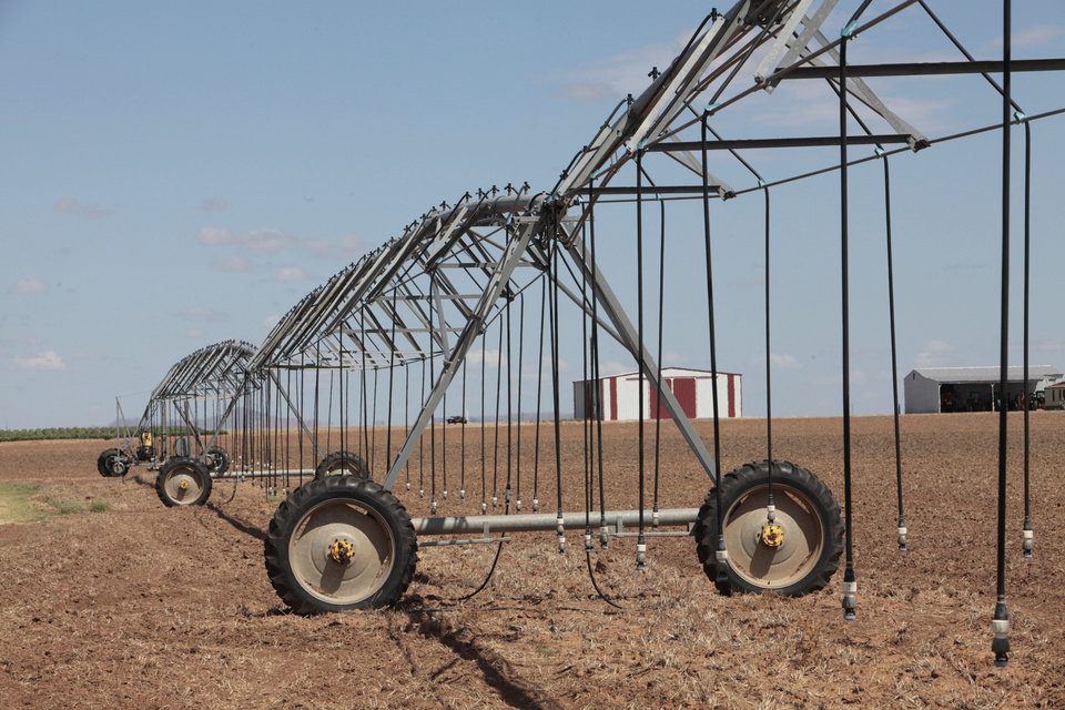 Photo - Matt Muller, who farms near the community of Martha in southwest Oklahoma, has not been able to irrigate crops for more than two years. That area is in exceptional drought, according to the U.S. Drought Monitor report. Photo by David McDaniel, The Oklahoman   David McDaniel