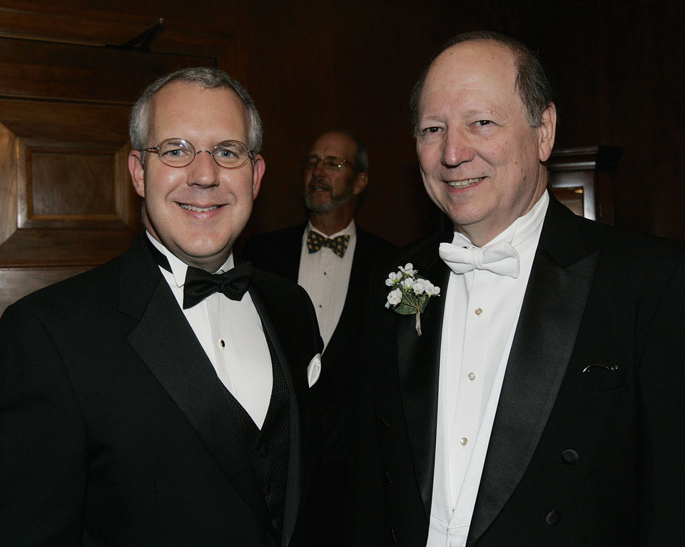 Photo - Oklahoma Gov. Brad Henry, left, poses for a photo with Edward S. Haskell, a decendent of Oklahoma's first governor, Charles Haskell, prior to the Oklahoma Centennial Statehood Inaugural Ball, Saturday, Nov. 17, 2007, at the Guthrie Scottish Rite Masonic Center, in Guthrie, Okla. By Bill Waugh, The Oklahoman