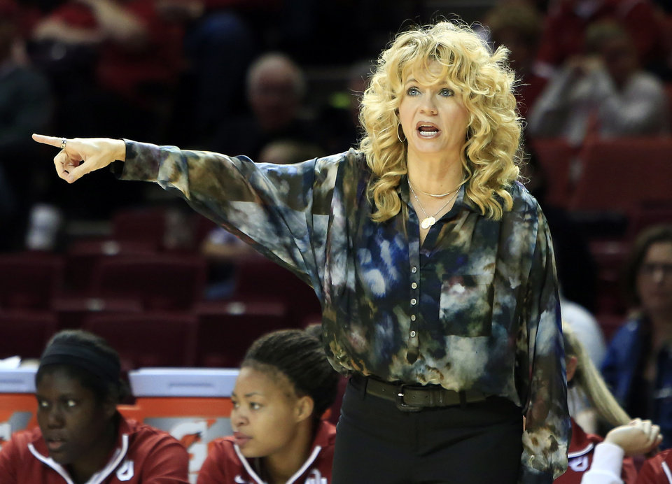 Oklahoma head coach Sherri Coale yells to her team during a play against Maryland Eastern Shore during the first half of an NCAA college basketball game in Norman, Okla., Sunday, Dec. 15, 2013. (AP Photo/Alonzo Adams)