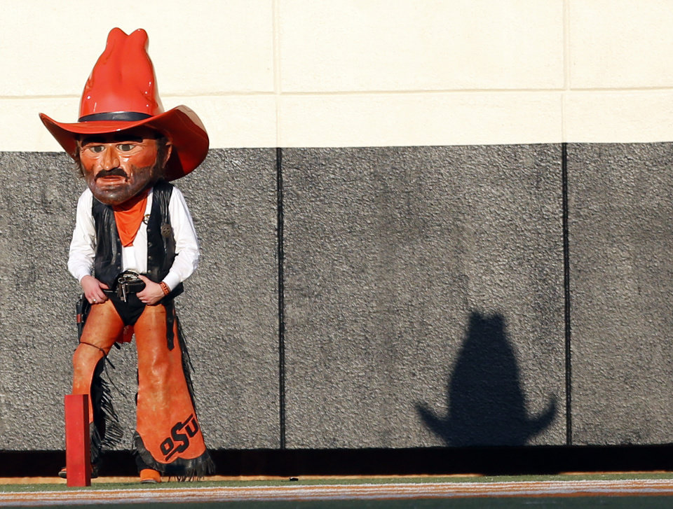 Photo - Pistol Pete watches game action during a college football game between Oklahoma State University (OSU) and Savannah State University at Boone Pickens Stadium in Stillwater, Okla., Saturday, Sept. 1, 2012. Photo by Sarah Phipps, The Oklahoman