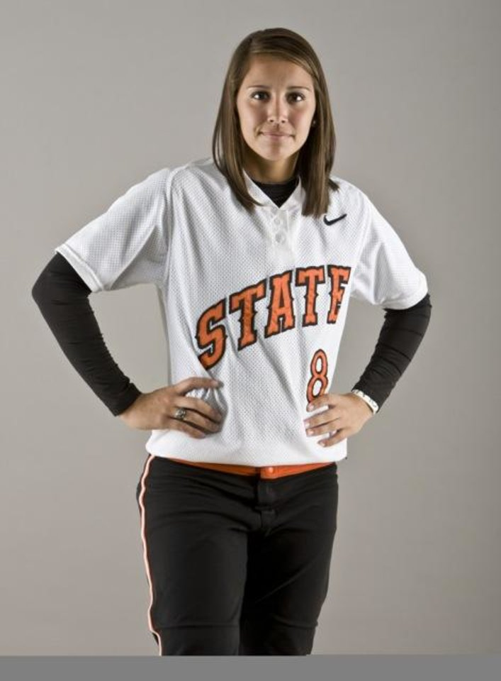 Photo - Oklahoma State Cowgirls shortstop Chelsea Garcia, a 2008 graduate of Moore High School, is working toward a degree in secondary education with an emphasis in mathematics. She expects to graduate in May 2013. PHOTO PROVIDED.  Gary Lawson
