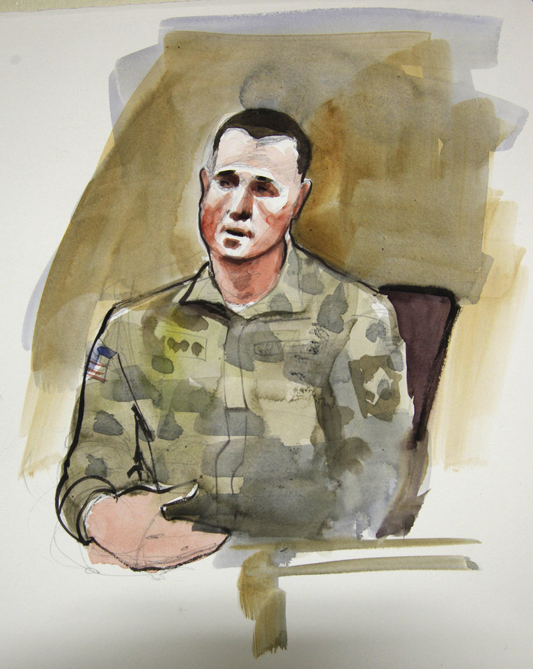 Photo -   In this courtroom sketch, Sgt. Jason McLaughlin, a prosecution witness in the preliminary hearing of U.S. Army Staff Sgt. Robert Bales, is shown Monday, Nov. 5, 2012, on the stand in a military courtroom at Joint Base Lewis McChord in Washington state. Bales is accused of 16 counts of premeditated murder and six counts of attempted murder for a pre-dawn attack on two villages in Kandahar Province in Afghanistan in March, 2012. (AP Photo/Lois Silver)
