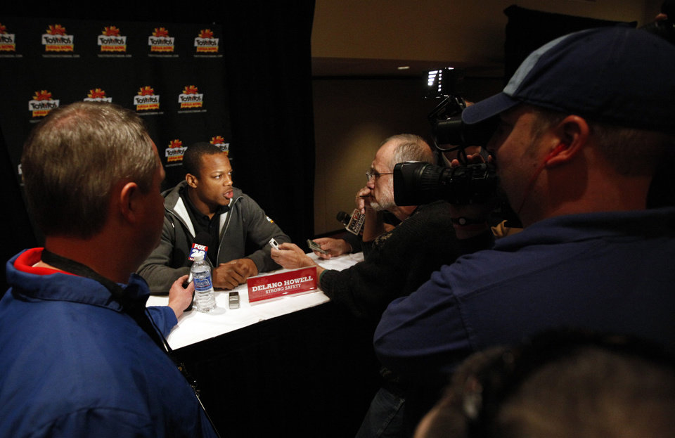 Photo - Stanford's Delano Howell talks to the media during a Stanford press conference for the Fiesta Bowl at the Camelback Inn in Paradise Valley, Ariz.,  Thursday, Dec. 29, 2011. Photo by Sarah Phipps, The Oklahoman