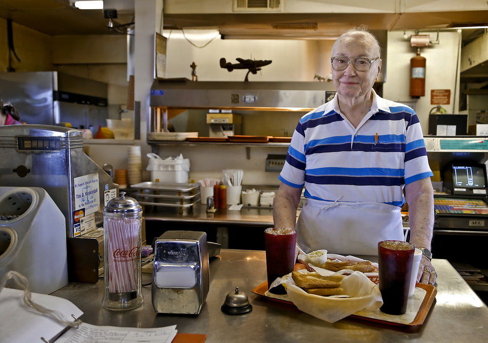Owner Johnny Ballard poses for a photo behind the counter at Ballard's Drive-In located in Pauls Valley, Okla. Monday, July 16, 2012.   Photo by Chris Landsberger, The Oklahoman