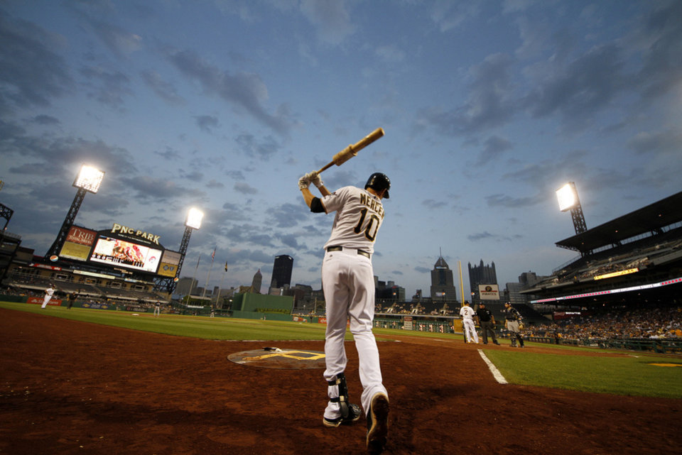 Pittsburgh Pirates shortstop Jordy Mercer (10) warms up on-deck at PNC Park during a baseball game against the Milwaukee Brewers on May 15, 2013 in Pittsburgh. <strong>Gene J. Puskar - ASSOCIATED PRESS</strong>