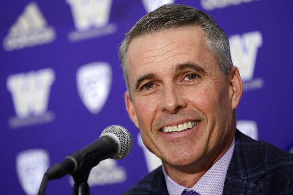 Photo - Washington NCAA college football head coach Chris Petersen speaks at a news conference about his decision to resign at the end of the season, Tuesday, Dec. 3, 2019, in Seattle. Petersen unexpectedly resigned on Monday, a shocking announcement with the Huskies coming off a 7-5 regular season and bound for a sixth straight bowl game under his leadership. Petersen will coach Washington in a bowl game, his final game in charge. Defensive coordinator Jimmy Lake is being promoted to head coach. (AP Photo/Elaine Thompson)