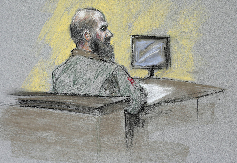 Photo - In this courtroom sketch, Maj. Nidal Hasan appears for the sentencing phase of his trial at the Lawrence William Judicial Center Wednesday, Aug. 28, 2013, in Fort Hood, Texas. A military jury sentenced Hasan to death for the 2009 shooting rampage at Fort Hood, handing the Army psychiatrist the ultimate punishment after a trial in which he seemed to be courting martyrdom by making almost no effort to defend himself.  (AP Photo/Brigitte Woosley)
