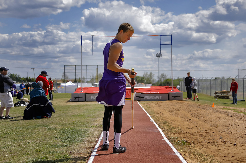 Laverne\'s Tanner Allen prepares to compete in the Class A pole vault during the Class A and 2A state championship track meet at Carl Albert High School on Friday, May 3, 2013, in Midwest City, Okla. Photo by Chris Landsberger, The Oklahoman