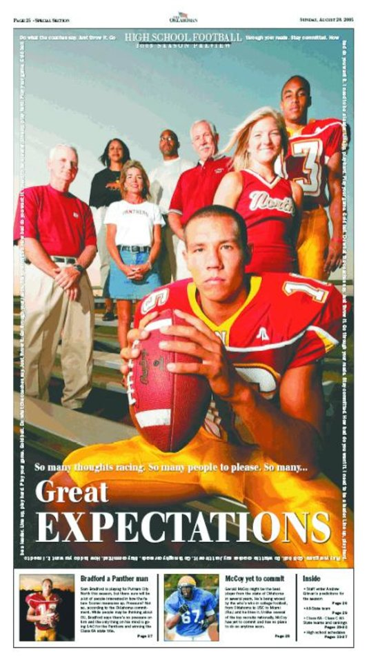 "2005 high school football cover: ""Great expectations"" featuring Sam Bradford"