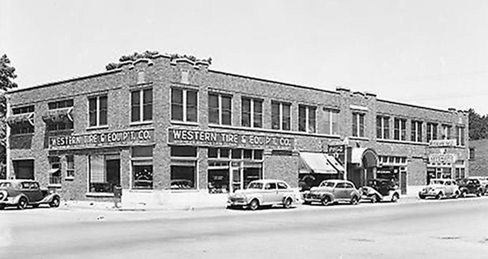 Photo - The Film Exchange Building standing on the future site of the Core to Shore park is shown in this 1946 photo.  Oklahoma Historical Society