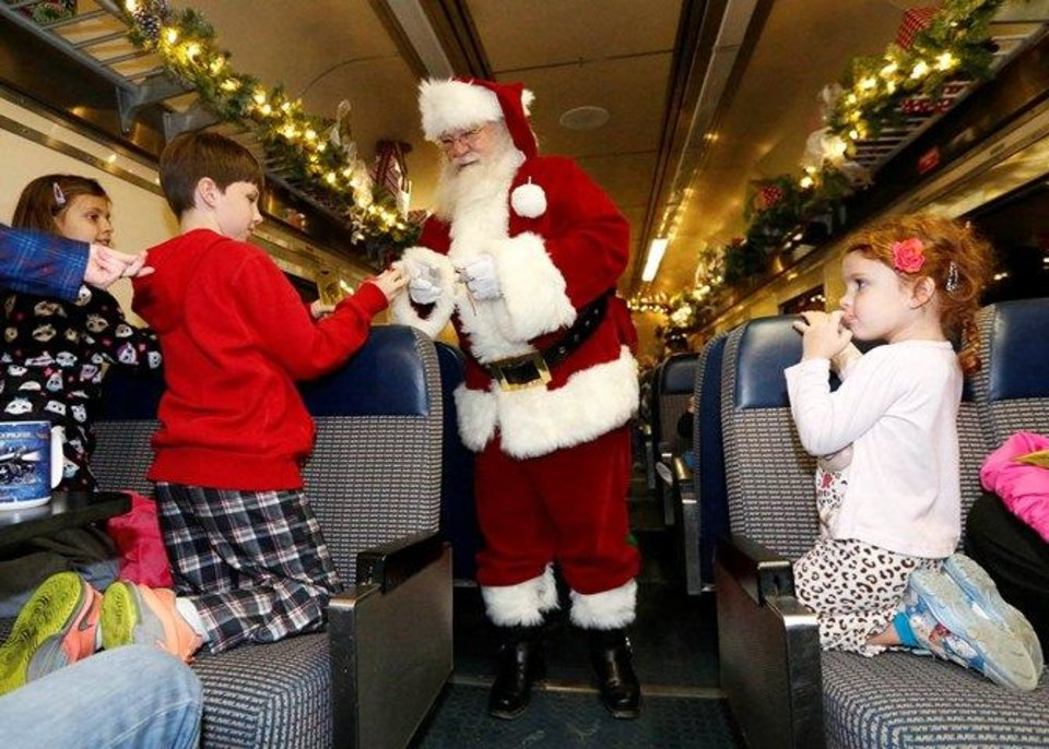 Right on the polar express train ride in bristow in 2014