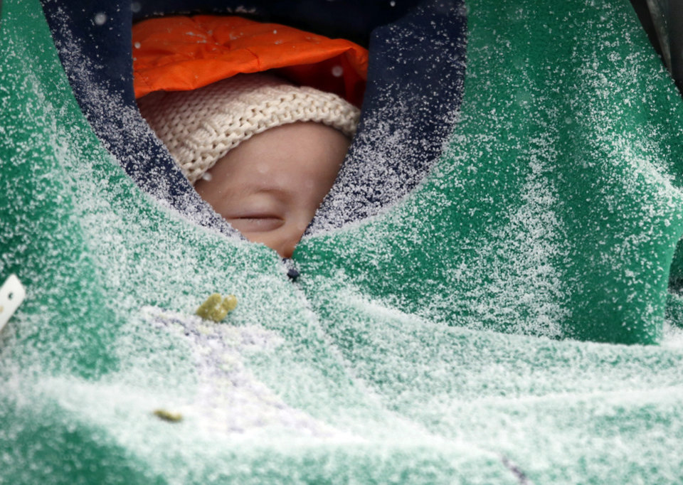 Photo - Two-month-old Jack Hsi takes a nap sheltered in his baby carrier while snow falls in Boston, Thursday, Jan. 2, 2014. Up to 14 inches of snow is forecast for the Boston area. (AP Photo/Elise Amendola)