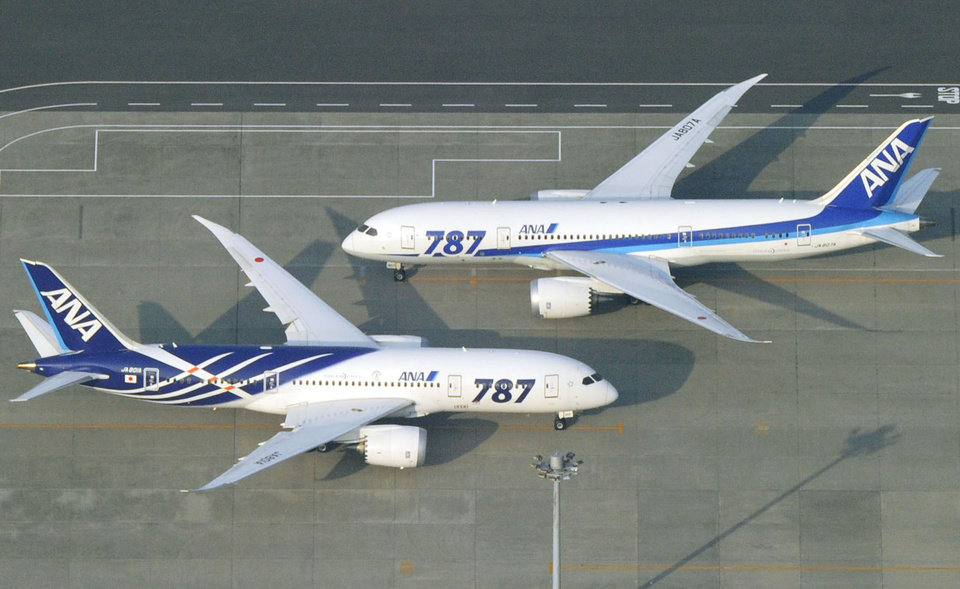 Photo - All Nippon Airways Boeing 787 planes sit on a tarmac at Haneda Airport in Tokyo Friday, April 26, 2013. Japan's transport minister said Friday the government is poised to allow Japanese airlines to resume flying grounded Boeing 787s once they complete installation of systems to reduce fire risk in problematic lithium ion batteries. (AP Photo/Kyodo News) JAPAN OUT, MANDATORY CREDIT, NO SALES IN CHINA, HONG KONG, JAPAN, SOUTH KOREA AND FRANCE