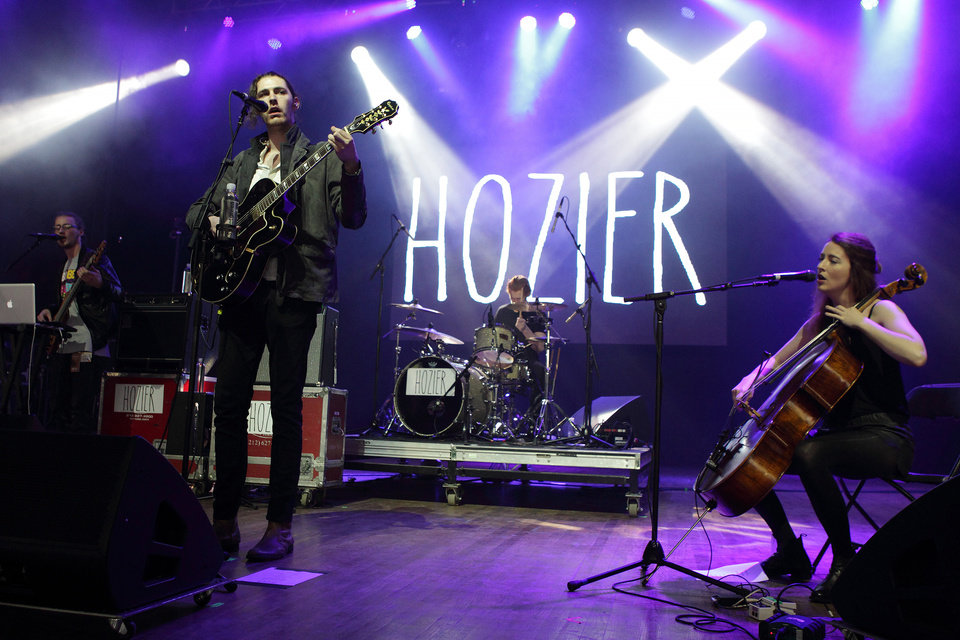Photo - FILE - In this May 10, 2014 file photo, Andrew Hozier-Byrne of the band Hozier performs in concert during the Sweetlife Festival at Merriweather Post Pavilion in Columbia, Md. Hozier's