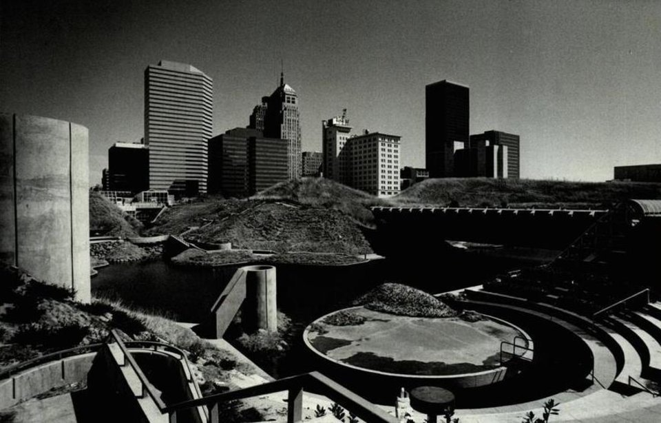 Photo - In September 1982, the Myriad Gardens was beginning to take shape against the Oklahoma City skyline.  [Photo by Jim Argo, The Oklahoman Archives]