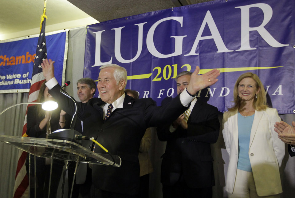 Photo -   Sen. Richard Lugar reacts before speaking to supporters Tuesday, May 8, 2012, in Indianapolis. Lugar lost his Republican Senate primary on Tuesday to state Treasurer Richard Mourdock. (AP Photo/Darron Cummings)