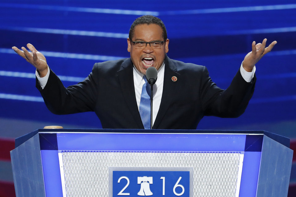 Photo - Rep. Keith Ellison, D-Minn., speaks during the first day of the Democratic National Convention in Philadelphia , Monday, July 25, 2016. (AP Photo/J. Scott Applewhite)