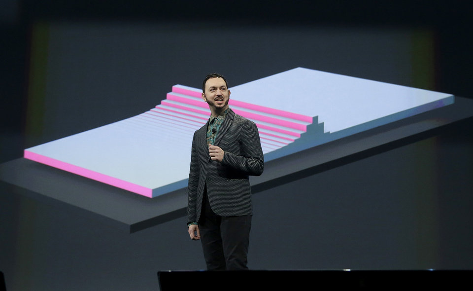Photo - Matias Duarte, vice president Android Design, speaks about Material Design at Google I/O 2014 keynote presentation in San Francisco, Wednesday, June 25, 2014. As Google's Android operating system stretches into cars, homes and smartwatches, this year's annual two-day developer conference will expand on its usual focus on smartphones and tablets. (AP Photo/Jeff Chiu)