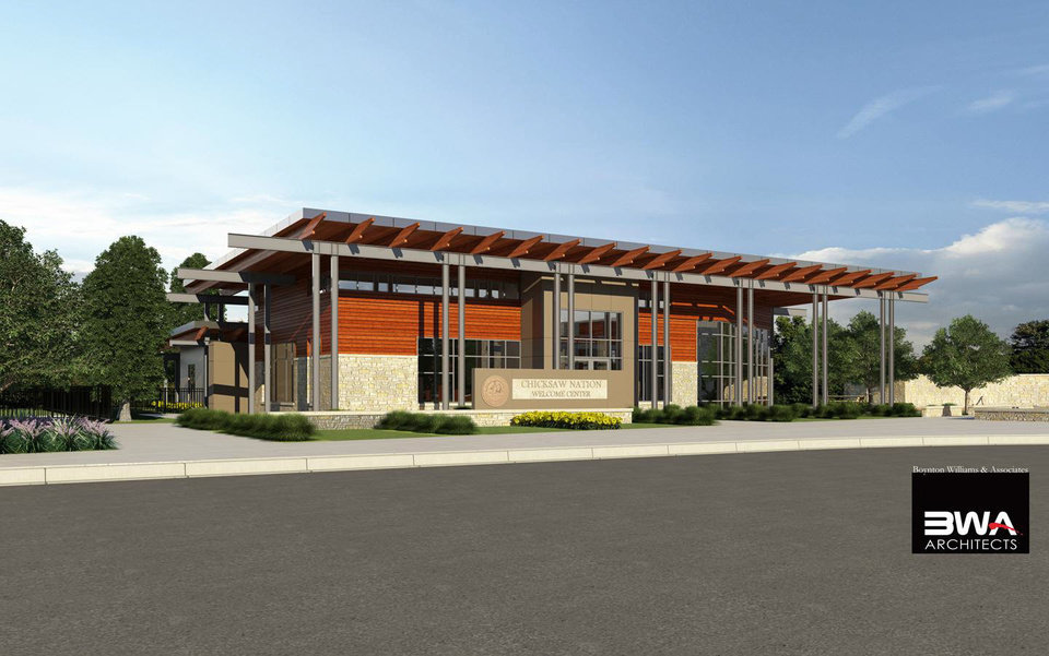 A rendering of the Chickasaw Nation Welcome Center, under construction in Davis. - Provided