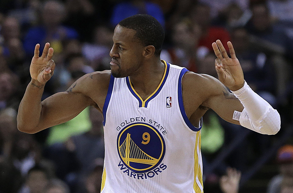 Golden State Warriors' Andre Iguodala celebrates a score against the Oklahoma City Thunder during the second half of an NBA basketball game Thursday, Nov. 14, 2013, in Oakland, Calif. (AP Photo/Ben Margot)