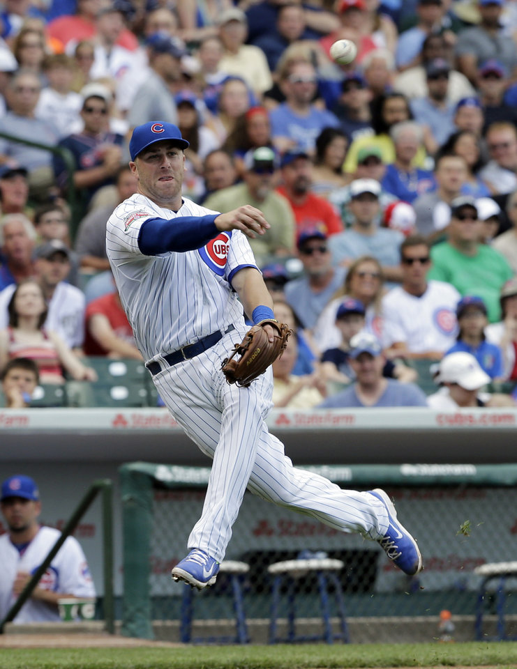 Photo - Chicago Cubs third baseman Mike Olt throws to first after Washington Nationals' Denard Span hit a bunt during the sixth inning of a baseball game in Chicago, Saturday, June 28, 2014.  (AP Photo/Nam Y. Huh)