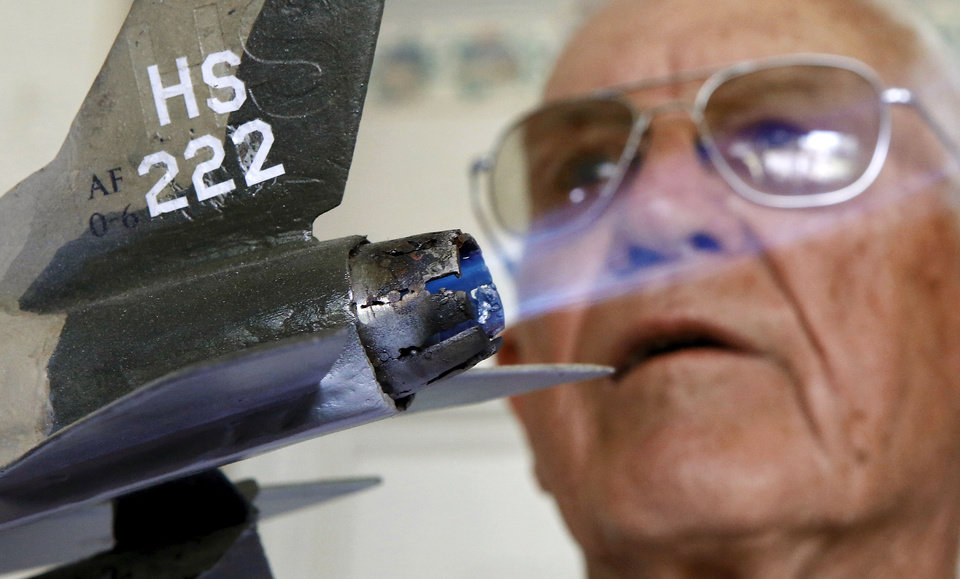 Ken McDaniel, a 78 year-old Air Force veteran, has a few hobbies including making metal replicas of military aircraft he, family or friends have flown. In this case, he added an afterburner.  <strong>Jim Beckel - THE OKLAHOMAN</strong>