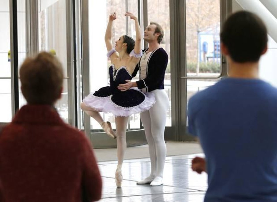 Photo -  Oklahoma City Ballet dancers Ryan Piper and Ezlimar Dortolina perform the Dance of the Sugar Plum Fairy from The Nutcraker during a presentation for Art Moves at the Devon Energy Center Thursday, December 5, 2013. Photo by Doug Hoke, The Oklahoman
