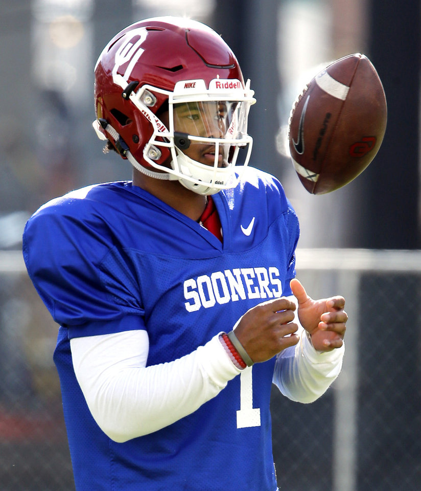 Photo - Texas A&M transfer Kyler Murray warms up as the University of Oklahoma Sooners (OU) begin spring practice at Gaylord Family-Oklahoma Memorial Stadium in Norman, Okla., on Tuesday, March 8, 2016. Photo by Steve Sisney, The Oklahoman