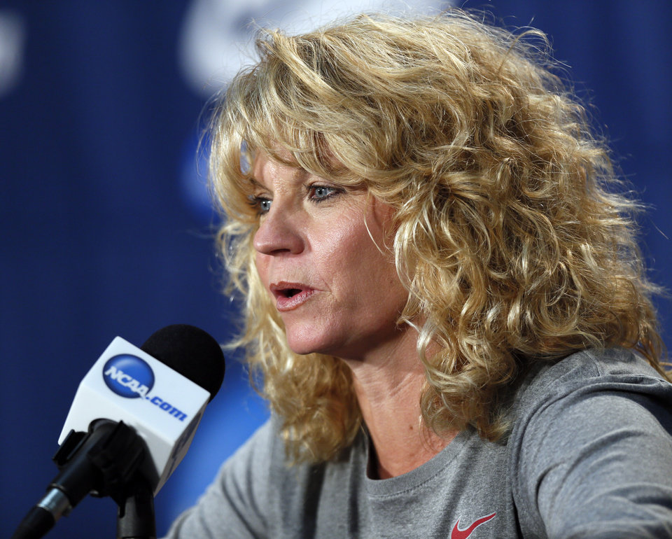 Photo - OU coach Sherri Coale speaks to the media during the press conference and practice day at the Oklahoma City Regional for the NCAA women's college basketball tournament at Chesapeake Energy Arena in Oklahoma City, Saturday, March 30, 2013. Photo by Nate Billings, The Oklahoman